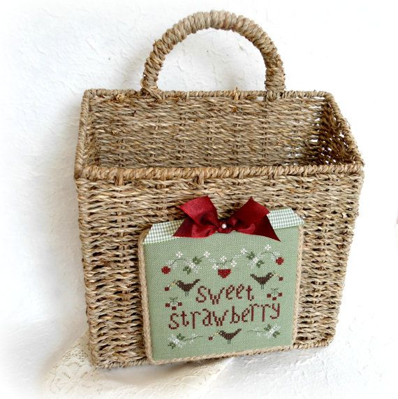 Sweet Strawberry Decorative Wall Basket by SnowBerryNeedleArts