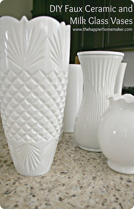 Transformed Cheap Dollar Store And Thrifted Vases Into Faux Ceramic