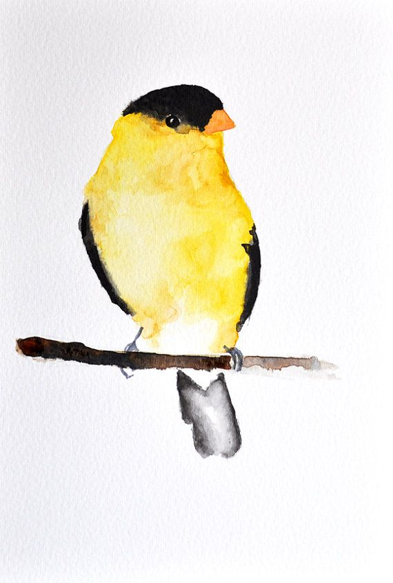 Original Watercolor Painting Yellow Finch Abstract Bird