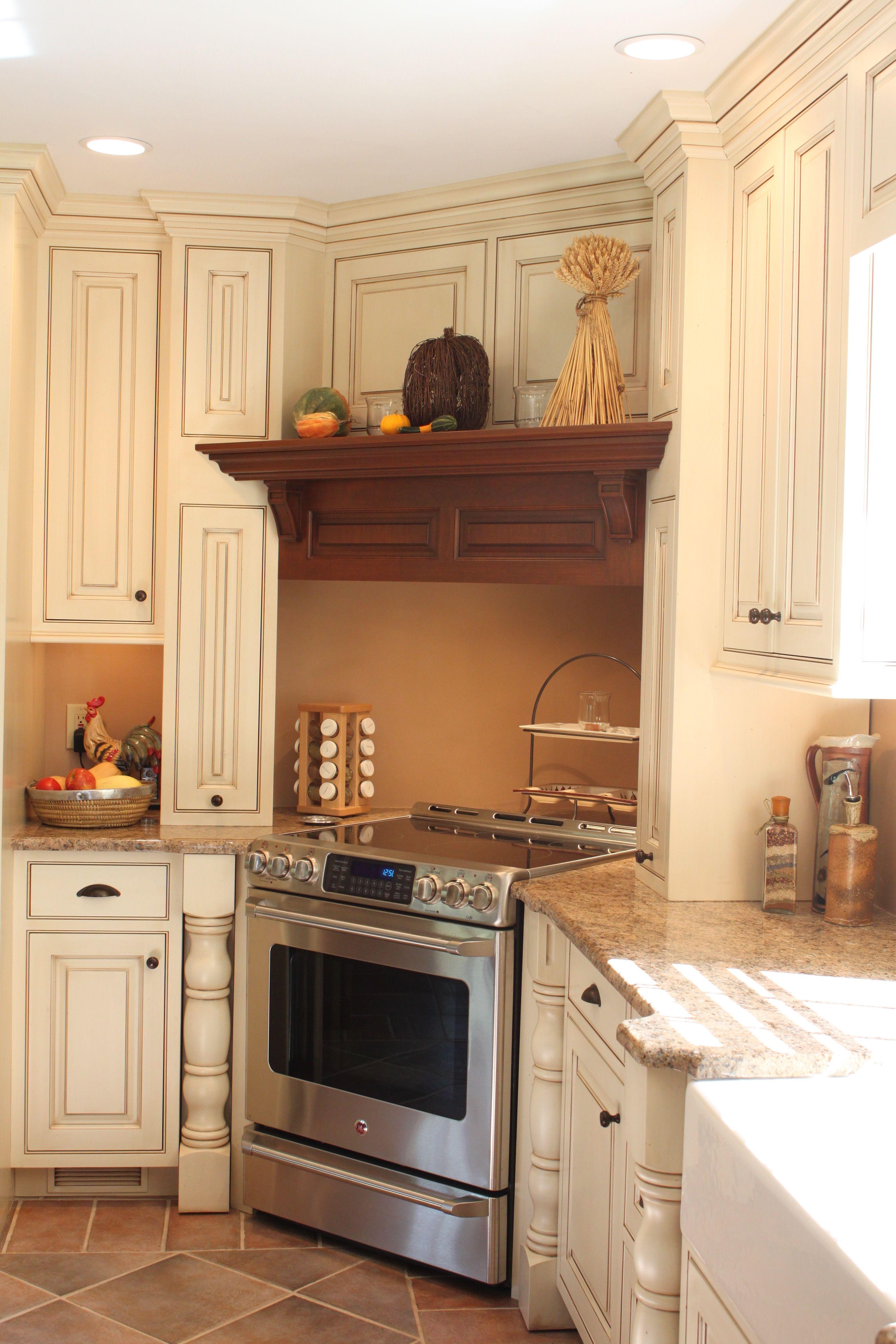 custom wood hood in corner | Wood hood vent, Kitchen space ...