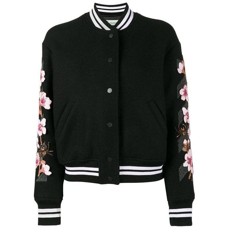 c23325b8d Off-white C/o Virgil Abloh Cherry Blossom-embroidered Wool-blend ...