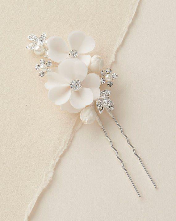Floral Wedding Hair Pin, Silver Flower Hair Pin, Bridal Pearl Flower Hair Pin, Wedding Hair Accessor #brautblume