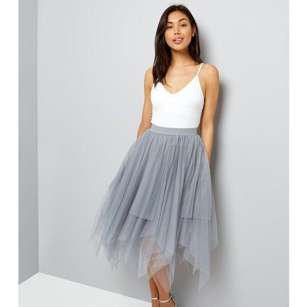 e3ef396e59 Grey Tulle Hanky Hem Midi Skirt ( 27) ❤ liked on Polyvore featuring skirts