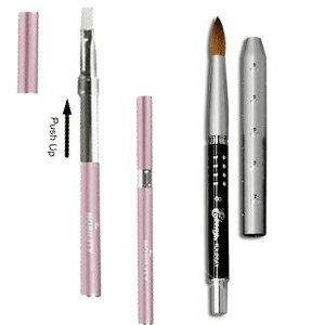 Ebony Kolinsky Acrylic Nail Brush Size 12 And Pink Gel Pack Of 2