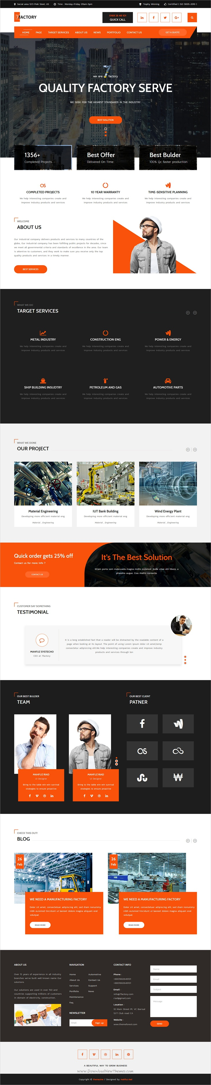 7factory Industrial Factory Manufacturing Html Template Web Design Web Layout Design Website Design Inspiration
