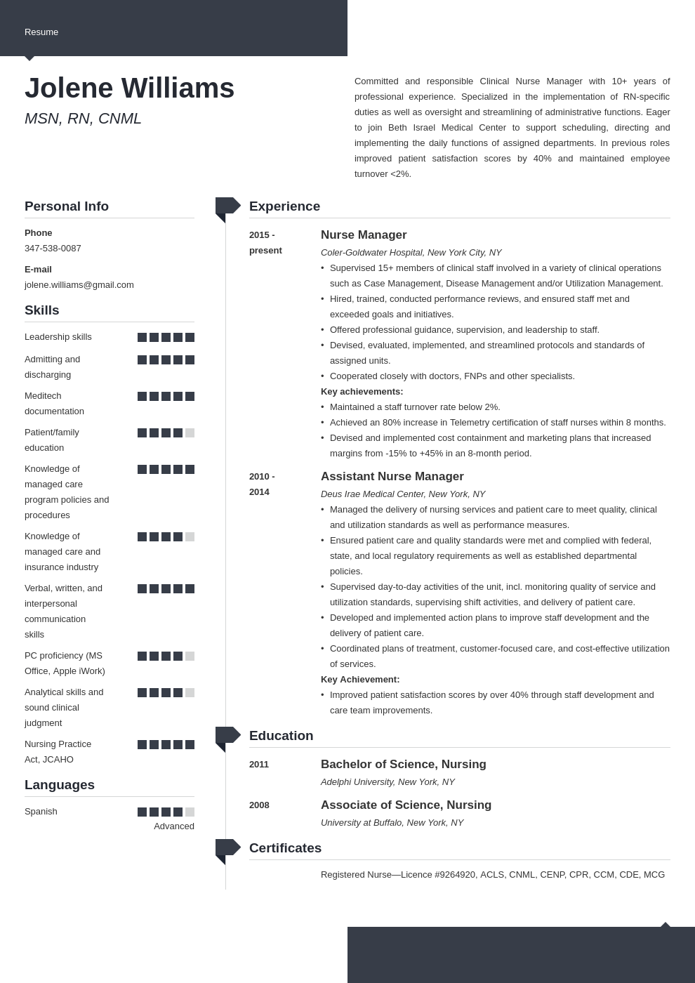 nurse manager resume example template modern in 2020