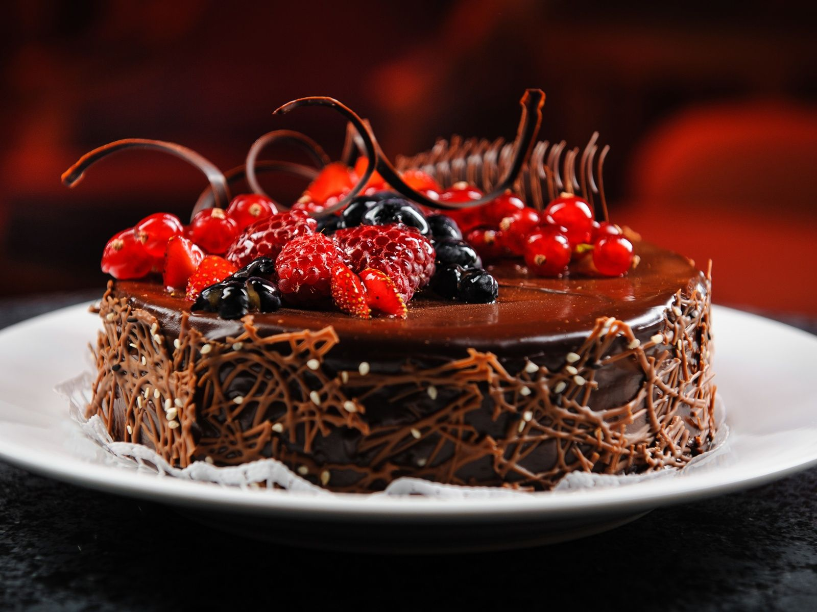 happy birthday chocolate cake with strawberries ...