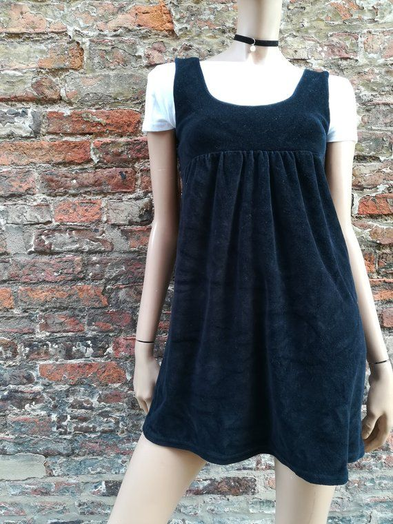 Vintage 90s Black velvet baby doll sleeveless short grunge dress  party dress  UK XS is part of Party Clothes Grunge - 8  This is a loose guide due to the nature of vintage clothing  Please refer to the measurements below  this is a pretty small dress!  Chest  15  Shoulder to hem  32  Waist  15  ⭐ All measurements taken flat so please double up where necessary ⭐ Great vintage condition