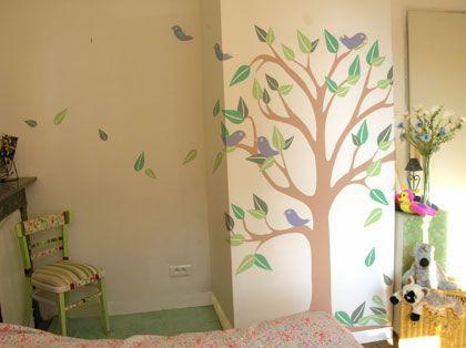 How To Create A Tree Mural | Tree Wall, Birds And Murals