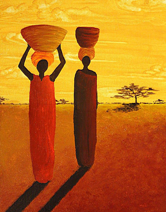 The Watering Hole African Women By Madart Painting The Watering Hole African Women By Madart Fine Art Print African Art Paintings African Paintings Art