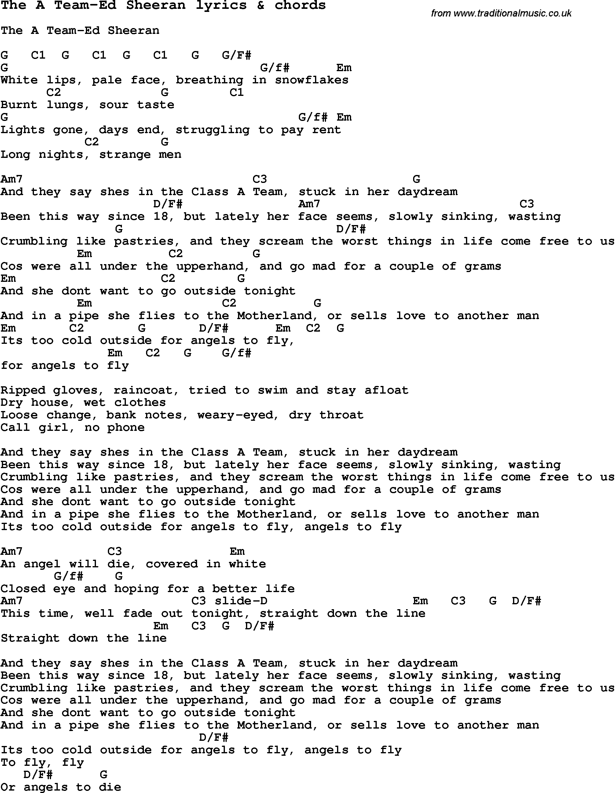 Love Song Lyrics For The A Team Ed Sheeran With Chords For Ukulele ...