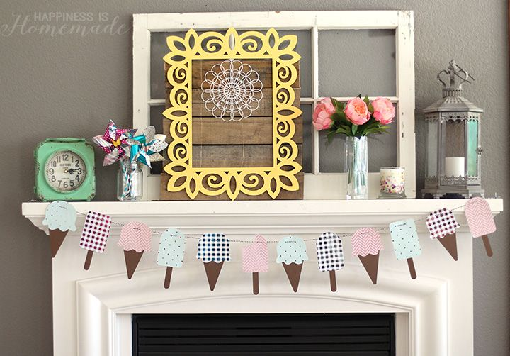 Ice Cream Cone & Popsicle Summer Banner - Happiness is Homemade