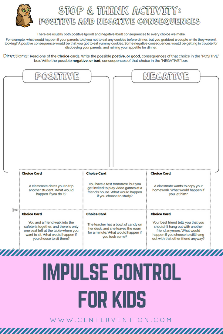 Worksheets Choices And Consequences Worksheet stop and think activities counselling therapy school social work