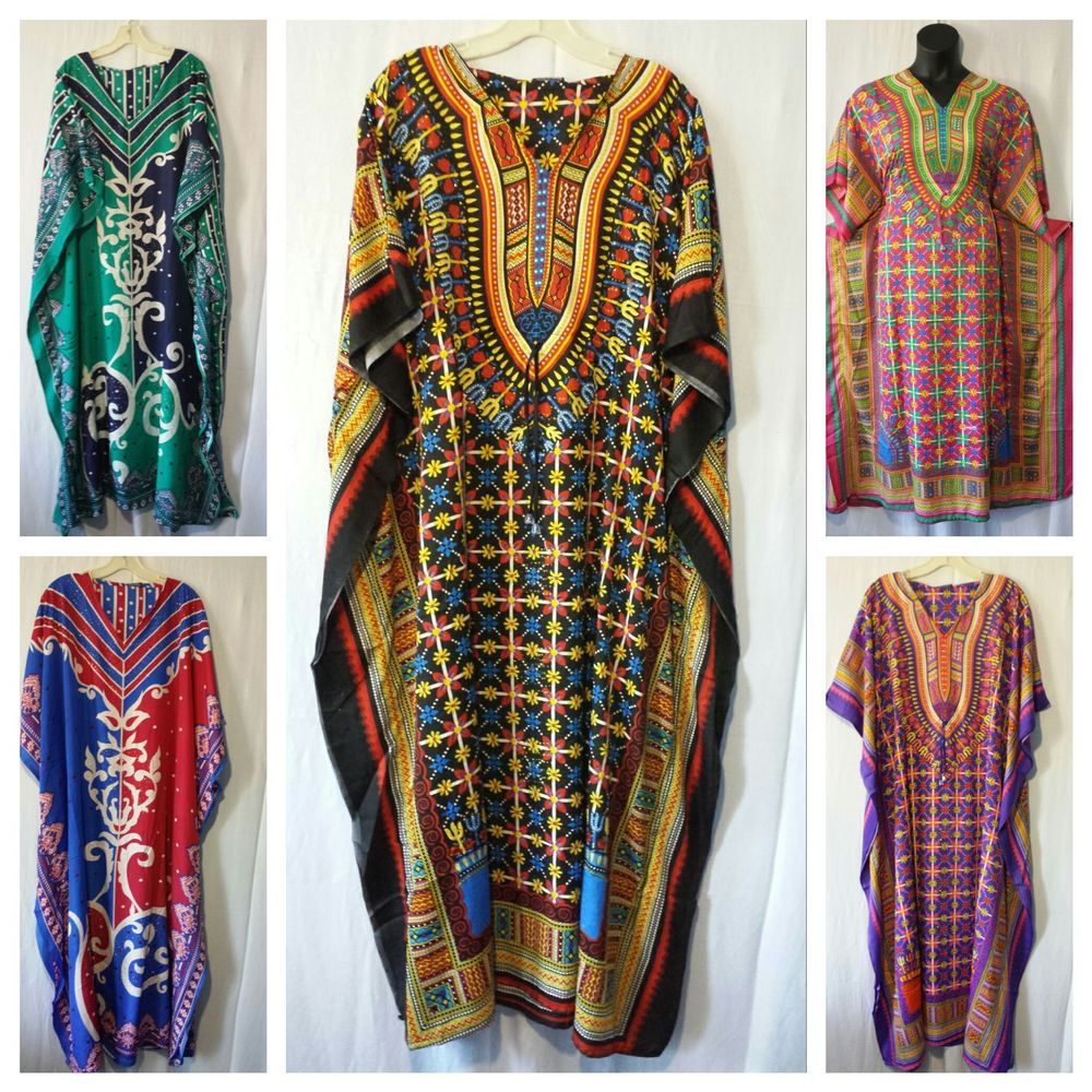 Women Kaftan Caftan dashiki Print Long Dress Hippie Drawstring Green Free Size