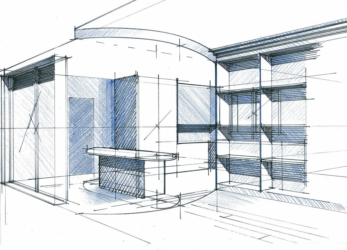 perspective salon biblioth que philippe ponceblanc architecte d 39 int rieur. Black Bedroom Furniture Sets. Home Design Ideas