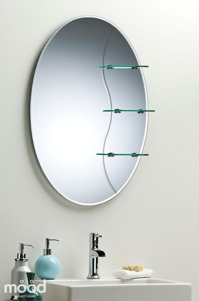 etched bathroom mirror elegant oval with shelf ~ wall