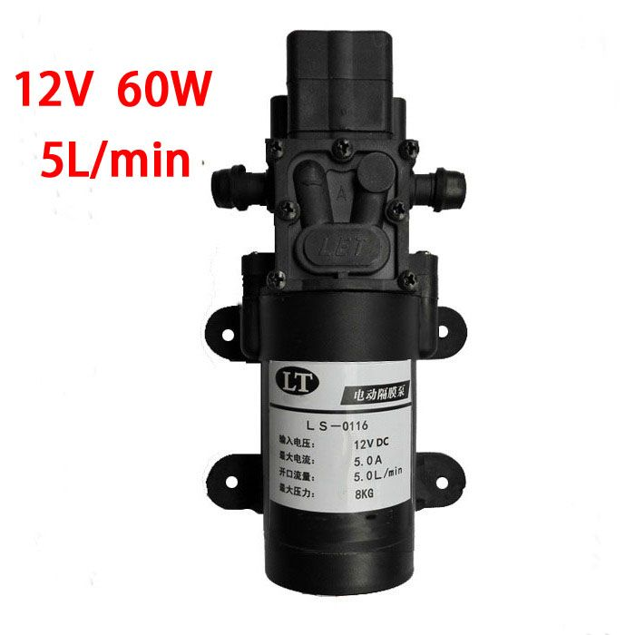 Free Shipping 12 Volt 60 Watt Dc Automatic Switching Diaphragm Pump Priming Diaphragm Pump High Pressure 5l Min Diaphragm Pump Home Improvement Plumbing