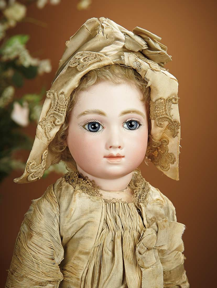 Bread and Roses - Auction - July 26, 2016: Lot #81 Gorgeous French Bisque Bebe A.T. by Thuillier in Original Ivory Silk Costume
