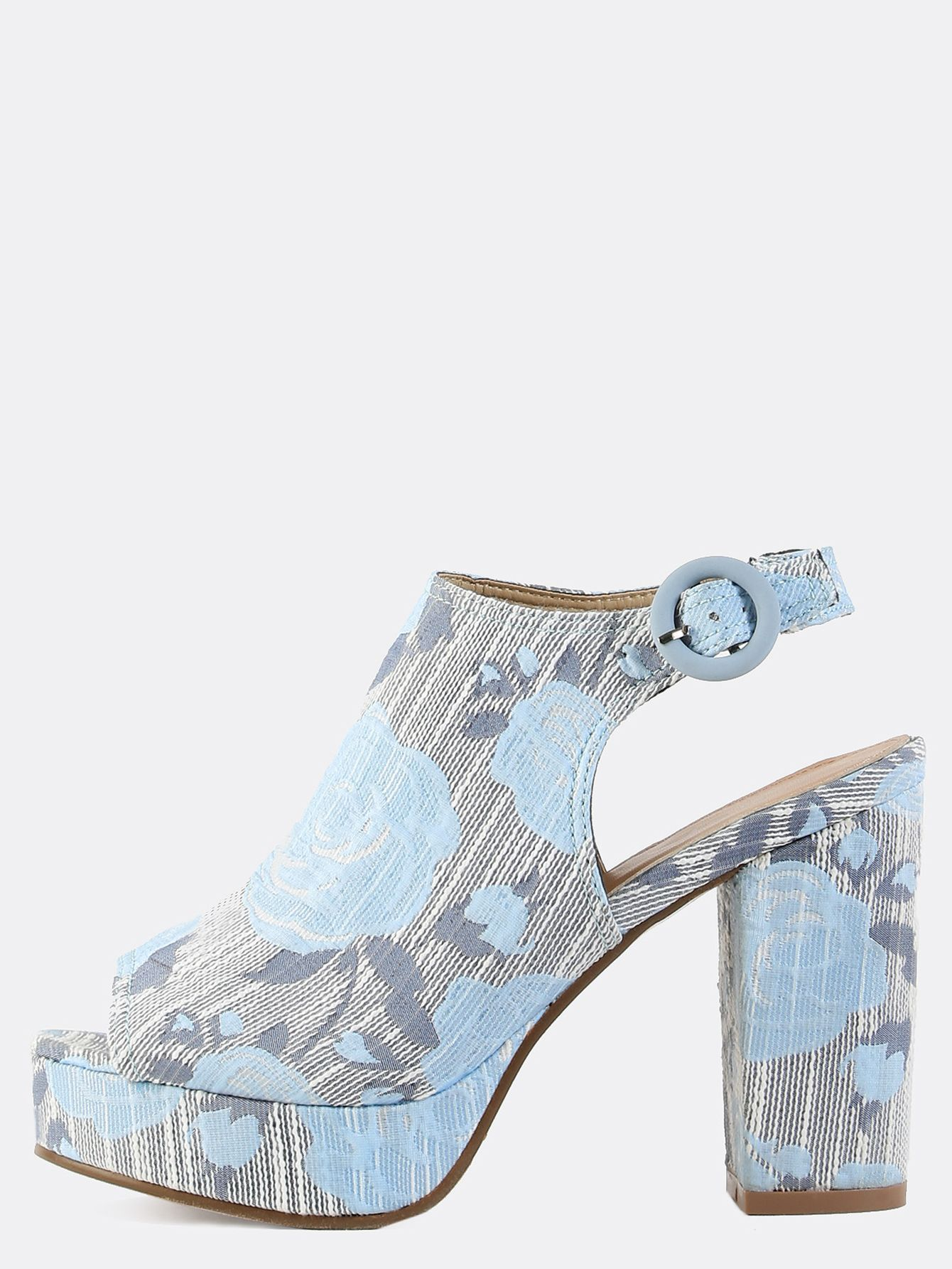 647b3141fbb Make your outfit sweet and adorable with the Platform Floral Chunky Mule  Heels! Features a peep toe