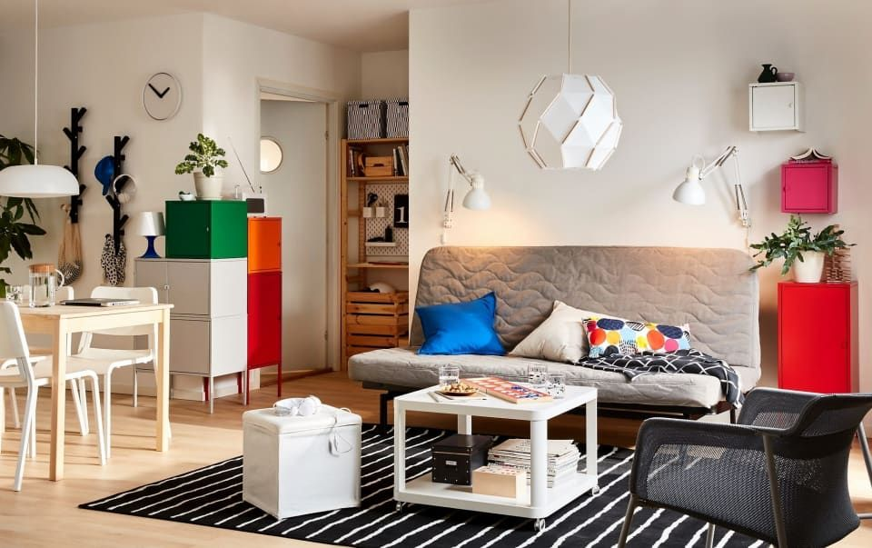 A Smart Way To Add Storage When You Have No Wall Space Ikea Living Room Living Room Setup Small Living Room Table