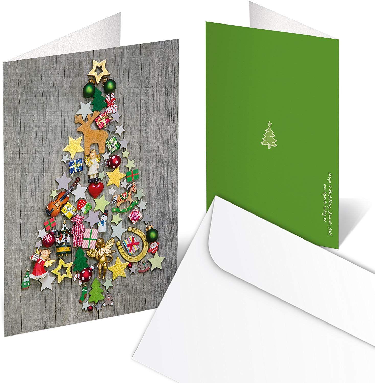 in cartoncino Ferrari /& Arrighetti Biglietti di Auguri per Natale Fatti a Mano Scritta Merry Christmas con Busta Confezione 2 Biglietti
