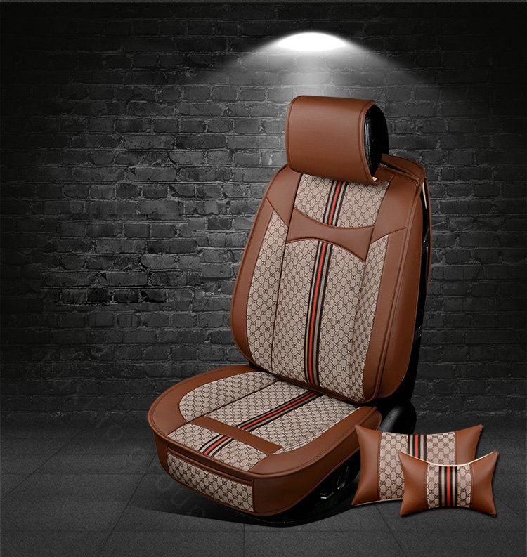 New Luxury Brown PU Leather Car Full Set Seat Cover Fashionable Cushion Pad UK