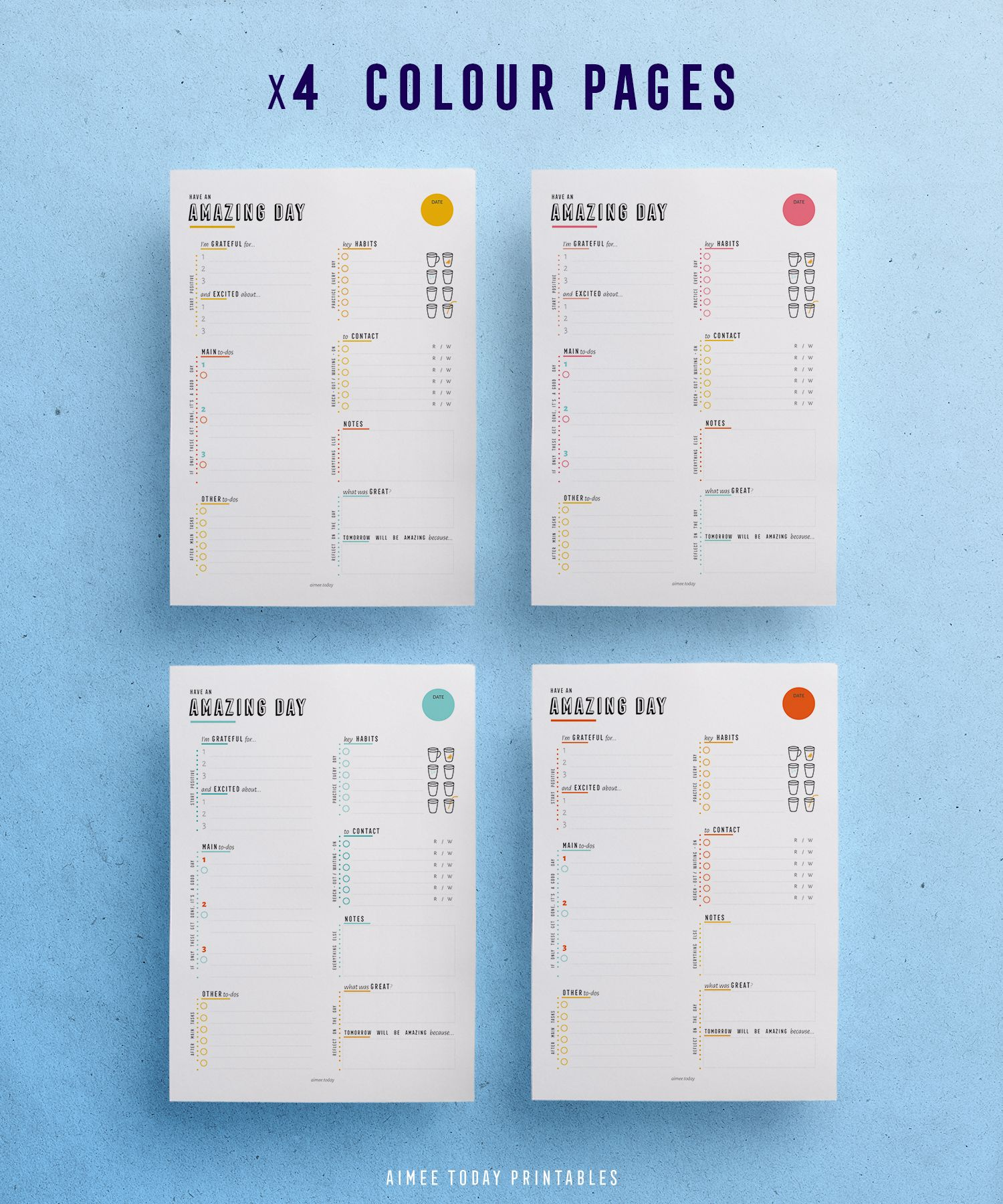 daily planner printable planner inserts instant download habit