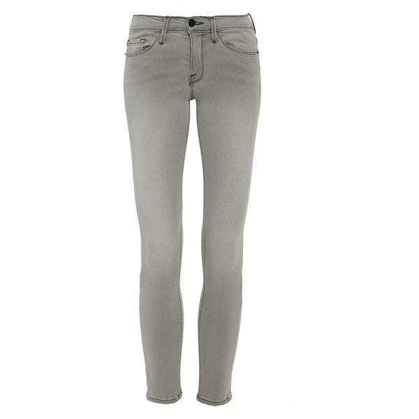 Frame Denim Gray Le Skinny de Jeanne Cropped Jeans ($200) ❤ liked on Polyvore featuring jeans, frame denim jeans, skinny leg jeans, super skinny jeans, frame denim and skinny fit jeans