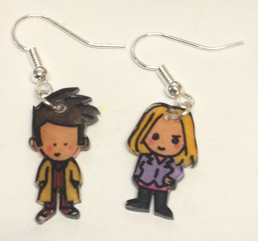 New 10th Doctor Amp Rose Tyler Earrings Doctor Who David Tennant Billie Piper Geeky Jewellery Kawaii Jewelry Handmade Costumes