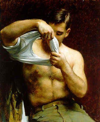 Man putting on his shirt von John Koch
