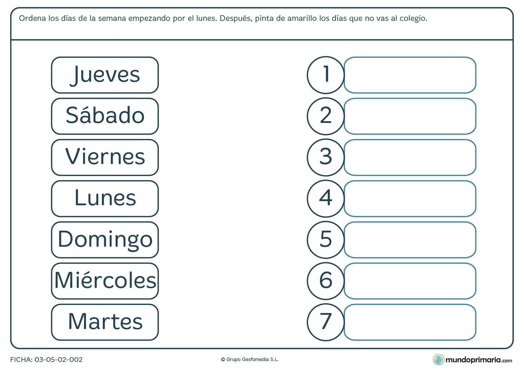 Ficha De Los Dias De La Semana Para Primaria 1 754 1 240
