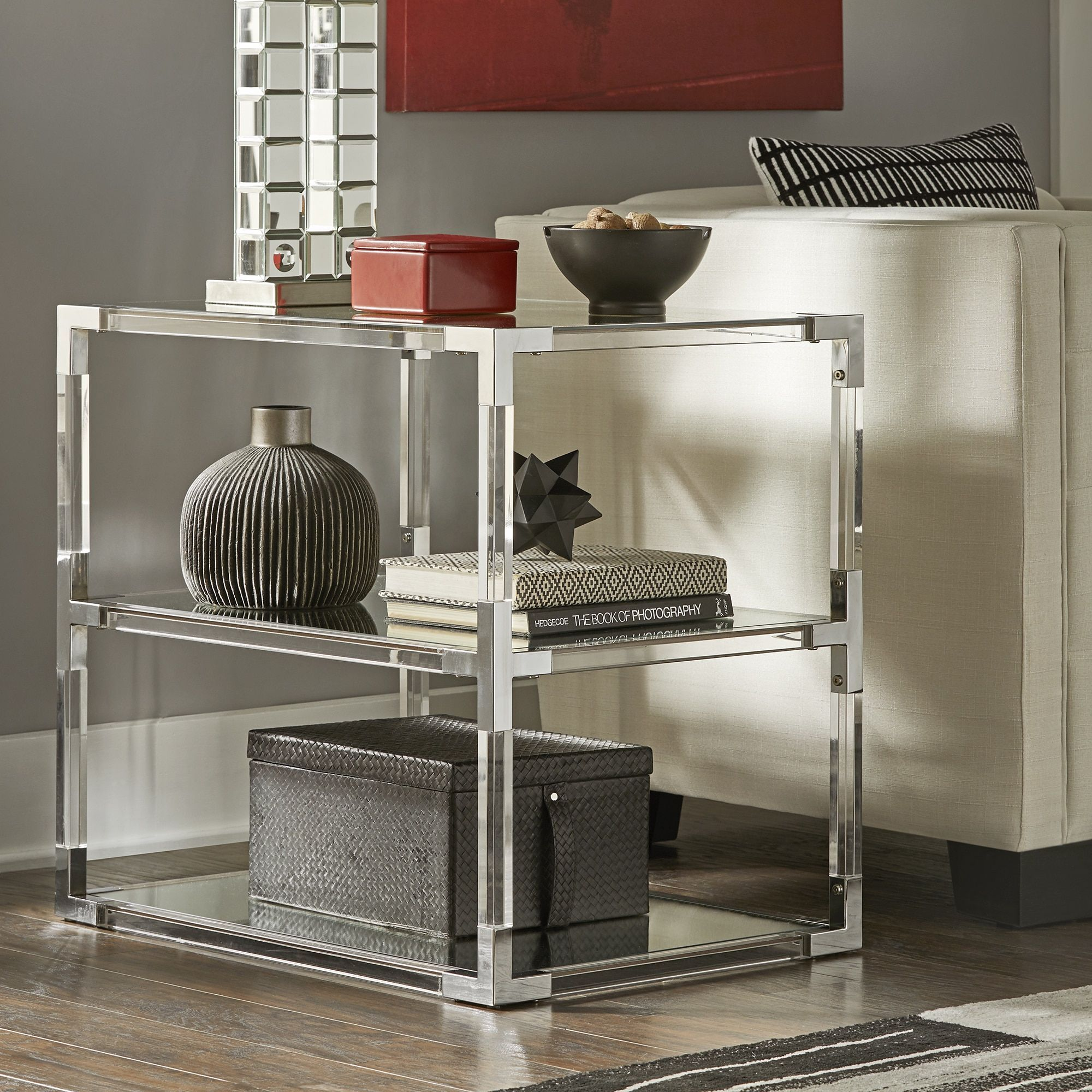 Cyrus Chrome Corner Mirrored Shelf End Table by Inspire Q