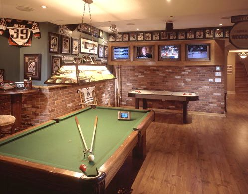 mini bargame room with a billiards table air hockey game