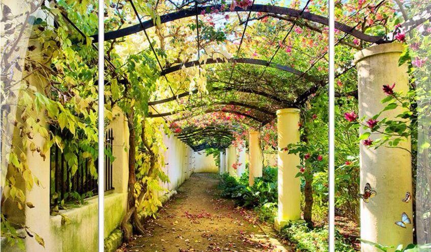 Wallpaper Taman Bunga Yang Indah Tv Latar Belakang Seni Rumah Salon Taman Bunga Kertas Dinding Mural Kustom 3d Wallp Wall Art Pictures Frames On Wall Pergola