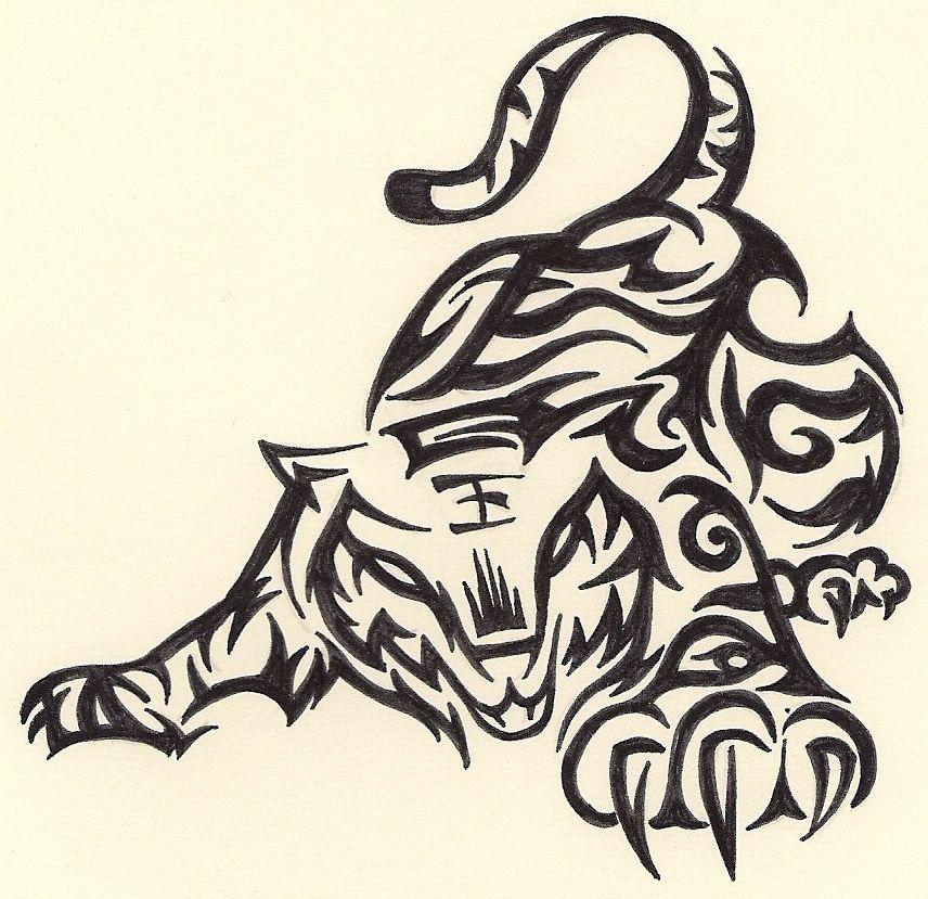 Tribal Tiger By Ruttan On Deviantart: Tiger Tattoo Design, Tribal Tiger