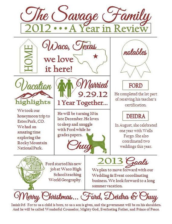 Custom Christmas Family Newsletter by EternalandTimeless on Etsy - christmas card letter templates