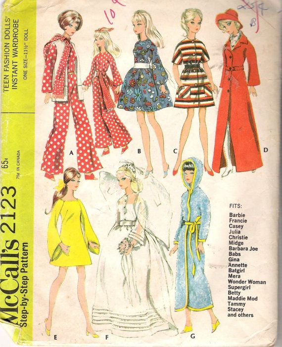 Vintage 1969 McCall\'s 2123 Barbie Style Doll Clothes Sewing Pattern ...
