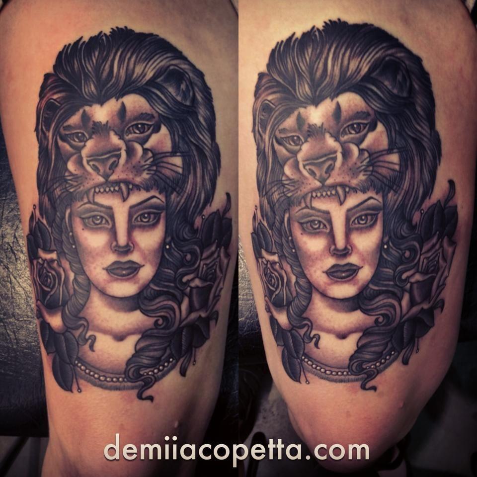 Girl With Lion Headdress Tattoo Design Lions Tattoos Headdress