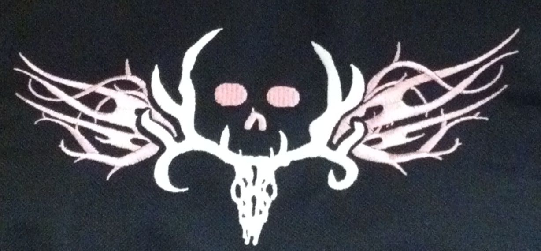 Bone Collector Bath Mat Skid Resistant Deer Antler Skull Logo Modern Gray Black
