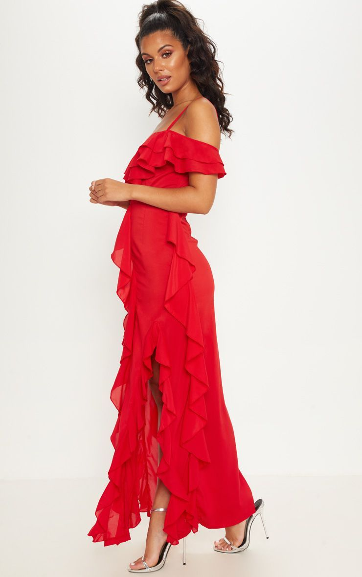 Red Cold Shoulder Ruffle Detail Maxi Dress Red Salsa Dress Red Dress Maxi Dresses [ 1180 x 740 Pixel ]