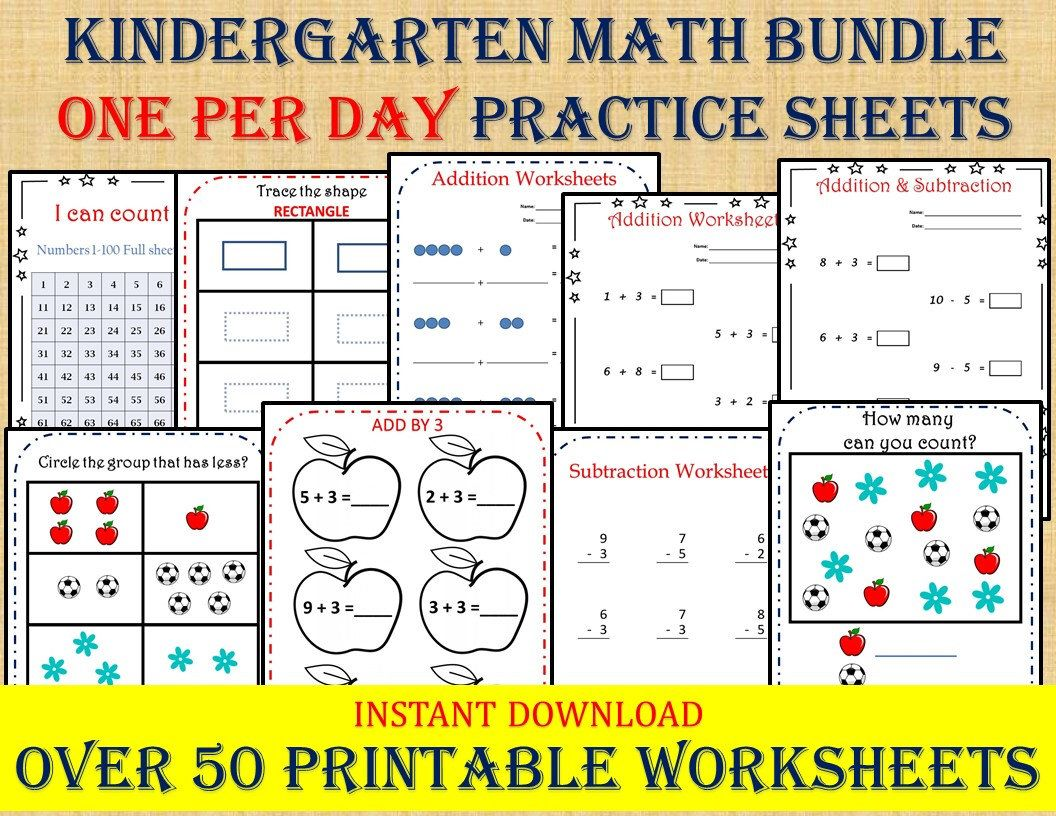 Kindergarten Math Bundle One Per Day 50 Worksheets