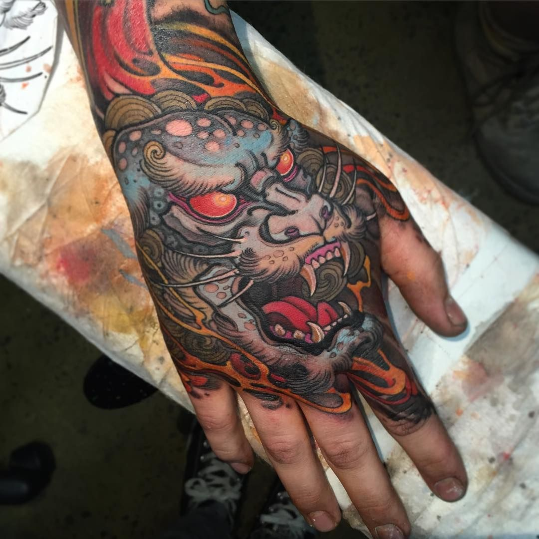 demon japanese tattoo on hand hand tattoo pinterest