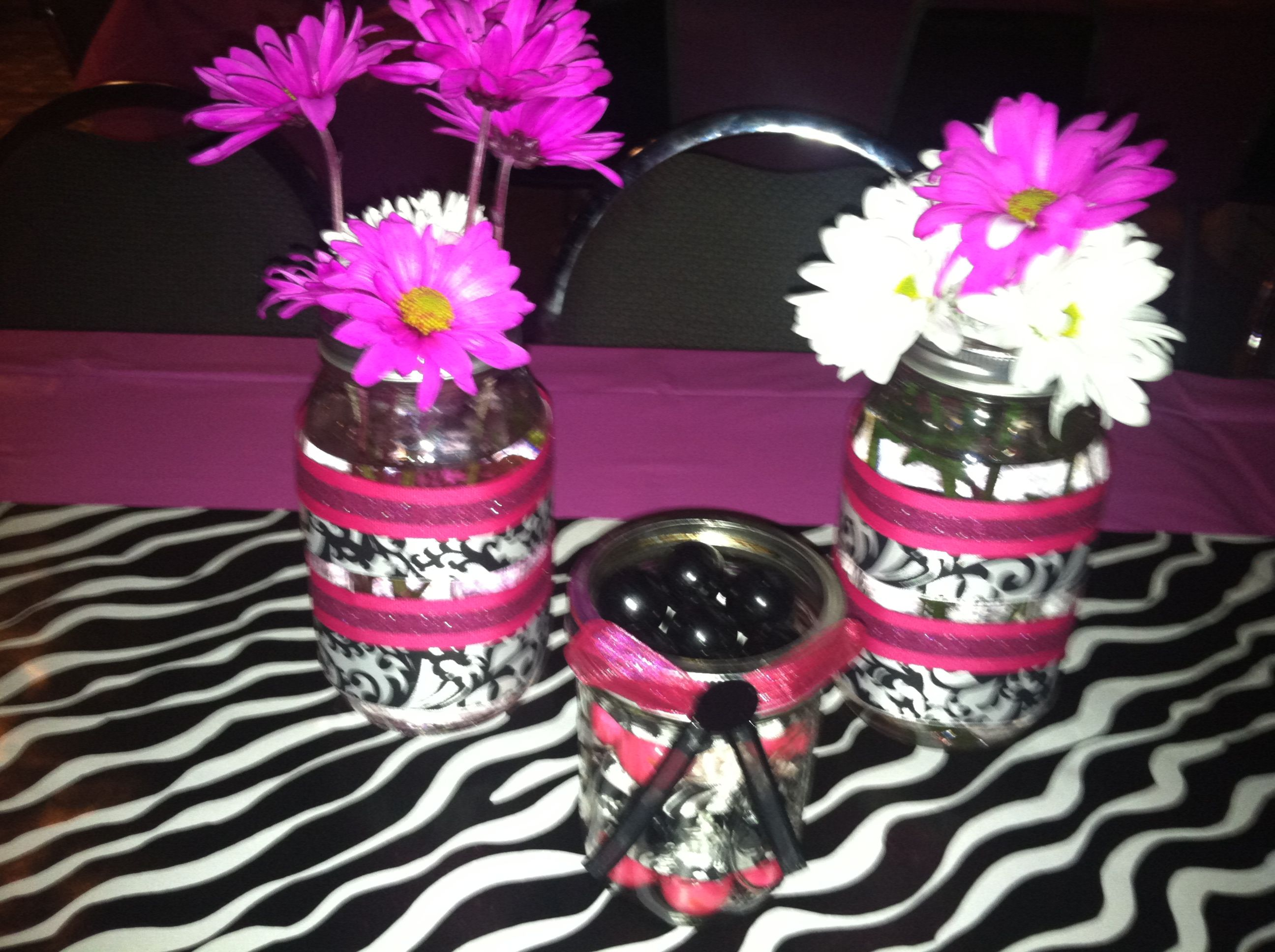 40th birthday party decorations I made Pink black and zebra theme