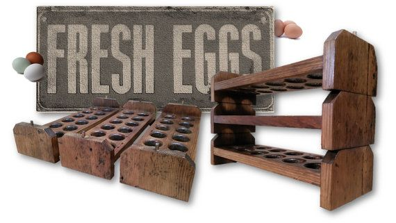 Reclaimed Wood Egg Holders Stackable Egg Trays Rustic Food