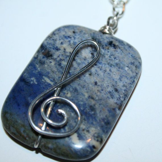 Wire Wrapped Music Necklace Treble Clef by amandamichellemoon, $32.00