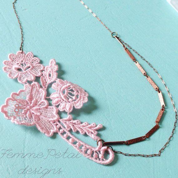 Statement necklace shabby chic romantic pastel pink by erinkeys, $24.00