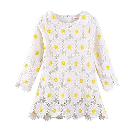 ef6f91092de Mud Kingdom Girls  Lace Sunflowers Long Sleeve Dresses Spring Autumn ...