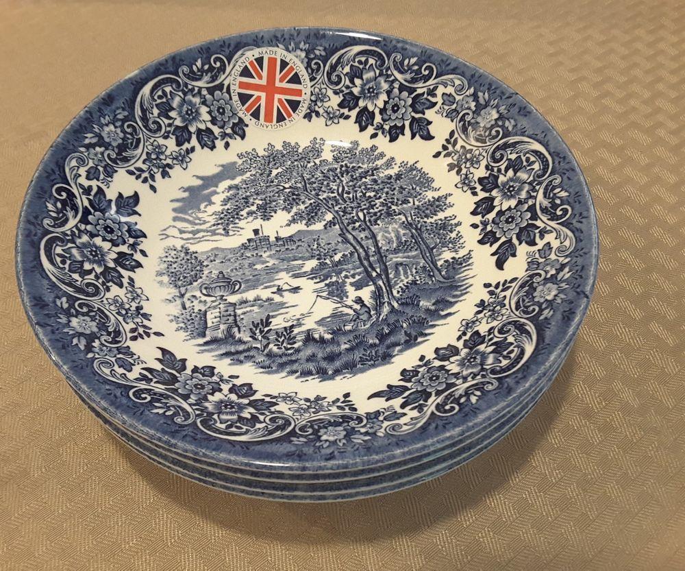 New QUEEN\u0027S Made England Cobalt Blue English Scene 4 bowl 1 Deep 7 in Pottery \u0026 Glass Pottery \u0026 China China \u0026 Dinnerware Other China \u0026 Dinnerware & New QUEEN\u0027S Made England Cobalt Blue English Scene 4 bowl 1 3/8 ...
