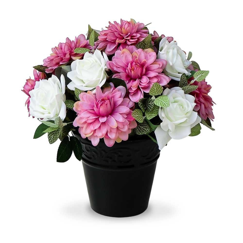 Arranjo De Flores Artificiais Mistas No Vaso Preto 30x30cm Rosas