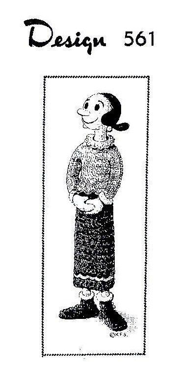 Olive Oyl vintage toy crochet pattern popeye by Ellisadine